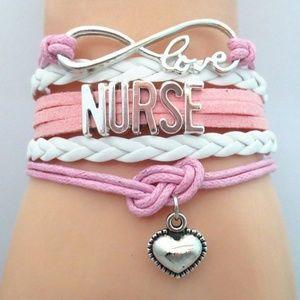 Nurse Pink Infinity Leather Charm Bracelet